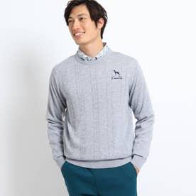 ケーブル編みクルーネックセーター (グレー)