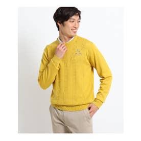 ケーブル編みクルーネックセーター (イエロー)