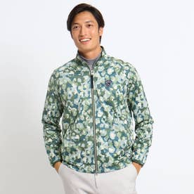 【蓄熱/防風】ボタニカルカモフラージュ柄ブルゾン (ダークグリーン)