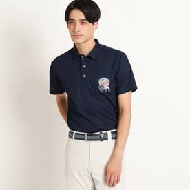【吸水速乾/UVカット/遮熱】胸ポケット付き半袖ポロシャツ (ネイビー)
