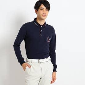 【吸湿発熱】襟裏デザイン長袖ポロシャツ (ネイビー)