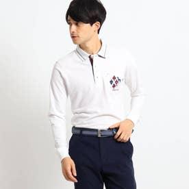 【吸湿発熱】襟裏デザイン長袖ポロシャツ (ホワイト)