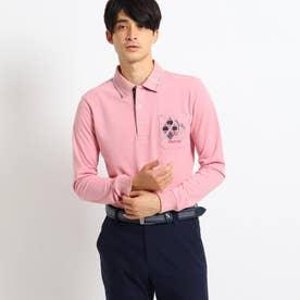 【吸湿発熱】襟裏デザイン長袖ポロシャツ (ピンク)