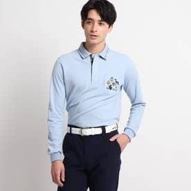 【吸湿発熱】襟裏デザイン長袖ポロシャツ (ライトブルー)