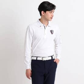 【吸水速乾/UVカット】adabatミラノリブ 襟裏デザイン長袖ポロシャツ (ホワイト)