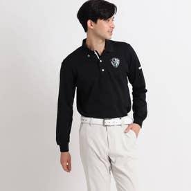 【吸水速乾/UVカット】adabatミラノリブ 襟裏デザイン長袖ポロシャツ (ブラック)