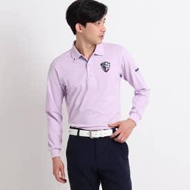 【吸水速乾/UVカット】adabatミラノリブ 襟裏デザイン長袖ポロシャツ (ピンク)