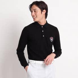 シャドー千鳥柄 長袖ポロシャツ (ブラック)