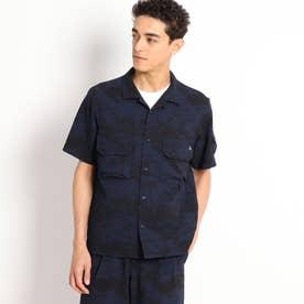ボタニカルモチーフ カモフラージュ 半袖シャツ (ネイビー)