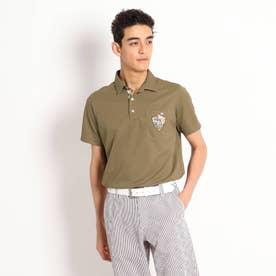 【吸水速乾/UVカット】襟裏デザイン半袖ポロシャツ (ブラウン)