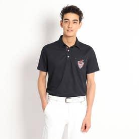 【吸水速乾/UVカット】襟裏デザイン半袖ポロシャツ (ブラック)