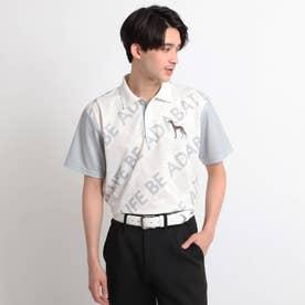 バイアスロゴデザイン 半袖ポロシャツ (ホワイト)
