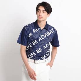 バイアスロゴデザイン 半袖ポロシャツ (ネイビー)