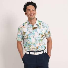 【吸水速乾】 風景プリント柄半袖ポロシャツ (ホワイト)