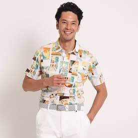 【吸水速乾】 風景プリント柄半袖ポロシャツ (ホワイト×ホワイト)