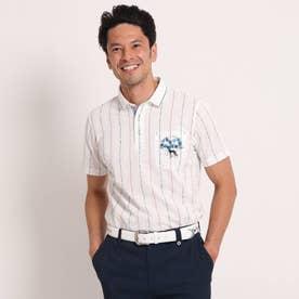 【吸水速乾/UVカット】サッカーストライプ柄半袖ポロシャツ (ホワイト)