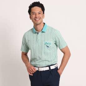 【吸水速乾/UVカット】サッカーストライプ柄半袖ポロシャツ (ライトグリーン)