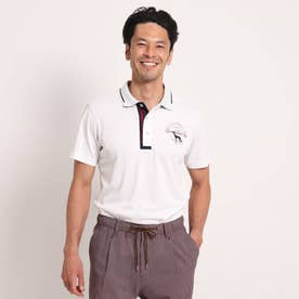 【coolcore(クールコア)/UVカット】襟裏ロゴデザイン半袖ポロシャツ (ホワイト)