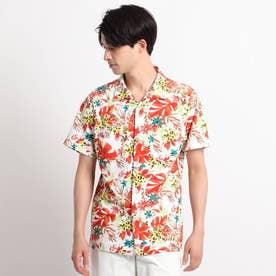 【UVカット/防透け】トロピカルフラワーデザインシャツ (オレンジ)