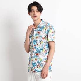 【UVカット/防透け】トロピカルフラワーデザインシャツ (グリーン)