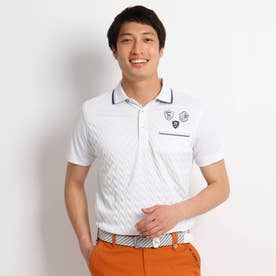 【coolcore(クールコア)/UVカット】プリーツデザイン 半袖ポロシャツ (ホワイト)