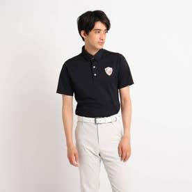 【吸水速乾/UVカット】襟裏デザイン 半袖ポロシャツ (ブラック)
