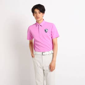 【吸水速乾/UVカット】襟裏デザイン 半袖ポロシャツ (ピンク)
