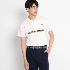 【バックプリント】グラフィックプリント 半袖ポロシャツ (ホワイト)