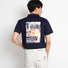 【バックプリント】グラフィックプリント 半袖ポロシャツ (ネイビー)