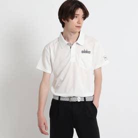 【サルーキバックプリント】 半袖ポロシャツ (ホワイト)