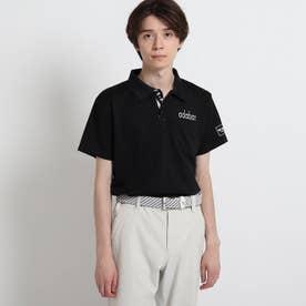 【サルーキバックプリント】 半袖ポロシャツ (ブラック)