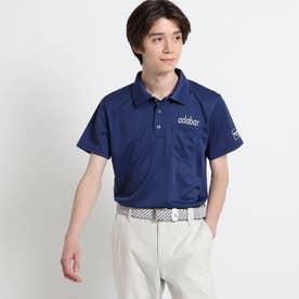 【サルーキバックプリント】 半袖ポロシャツ (ネイビー)