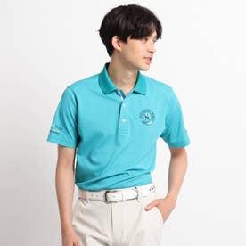 【吸水速乾/UVカット】襟裏デザイン 半袖ポロシャツ (ブルー)