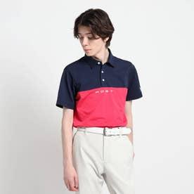 【吸水速乾/UVカット】バイカラー 半袖ポロシャツ (ペルシアンレッド)