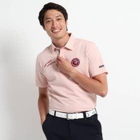 【吸水速乾】 サッカーストライプ柄 半袖ポロシャツ (ピンク)