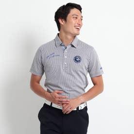 【吸水速乾】 サッカーストライプ柄 半袖ポロシャツ (ホワイト)