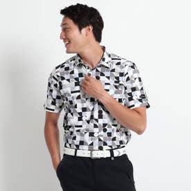 【吸水速乾/UVカット】adabatミラノリブ ジオメトリック柄半袖ポロシャツ (ブラック)