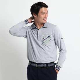 【吸水速乾/胸ポケット付き】 ストライプ長袖ポロシャツ (ネイビー)