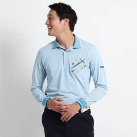 【吸水速乾/胸ポケット付き】 ストライプ長袖ポロシャツ (ブルー)
