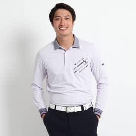 【吸水速乾/胸ポケット付き】 ストライプ長袖ポロシャツ (ライトパープル)