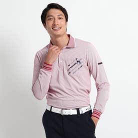 【吸水速乾/胸ポケット付き】 ストライプ長袖ポロシャツ (ワインレッド)