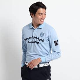 【吸水速乾/UVカット】 adabatミラノリブ 長袖ポロシャツ (サックス)