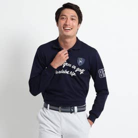 【吸水速乾/UVカット】 adabatミラノリブ 長袖ポロシャツ (ネイビー)