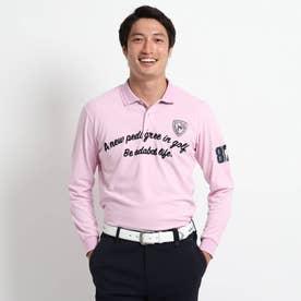 【吸水速乾/UVカット】 adabatミラノリブ 長袖ポロシャツ (ベビーピンク)