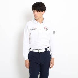 【吸水速乾/UVカット】adabatミラノリブ 長袖ポロシャツ (ホワイト)