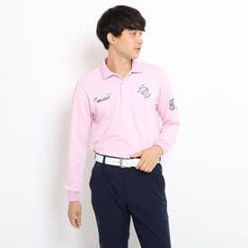【吸水速乾/UVカット】adabatミラノリブ 長袖ポロシャツ (ベビーピンク)