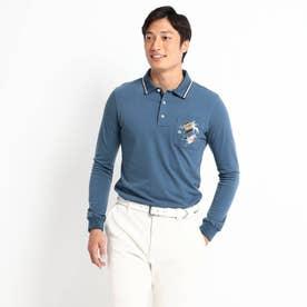 定番ベーシック長袖ポロシャツ 吸湿発熱/胸ポケット (ライトブルー)