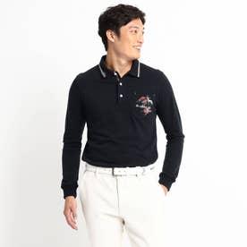 定番ベーシック長袖ポロシャツ 吸湿発熱/胸ポケット (ダークネイビー)