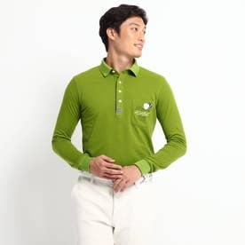 定番ベーシック長袖ポロシャツ 吸湿発熱/胸ポケット (オリーブグリーン)