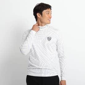 長袖モックネックシャツ 吸湿発熱 (ホワイト)